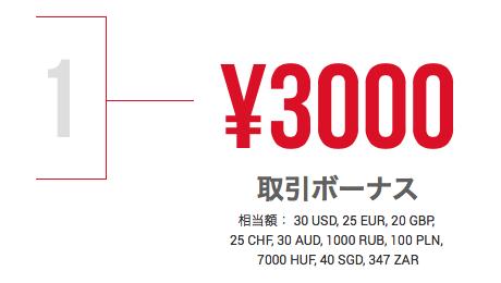 XMTradingの3000円の口座開設ボーナス